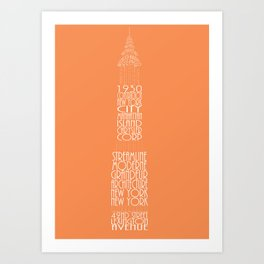 Chrysler Buidling Orange Art Print