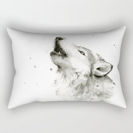 Wolf Howling Watercolor Animals Wildlife Painting Animal Portrait Rectangular Pillow