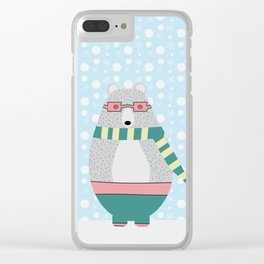 Bear in snow Clear iPhone Case