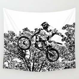 Stealing the Air - Freestyle Motocross Rider Wall Tapestry