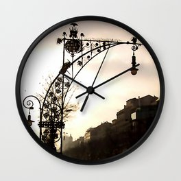 Streetview in Barcelona Wall Clock