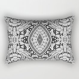 Elegant Black White Floral Lace Damask Pattern Rectangular Pillow