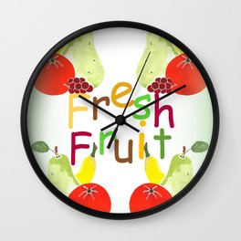 Fresh Fruit Green Wall Clock