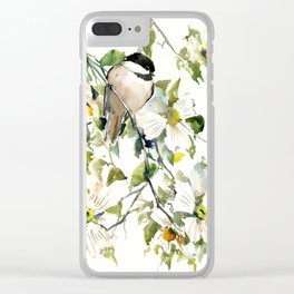 chickadee and dogwood, chickadee art design floral Clear iPhone Case