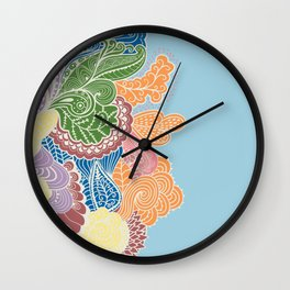 Colored Paislies Wall Clock