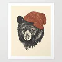 knitting Art Prints featuring zissou the bear by Laura Graves