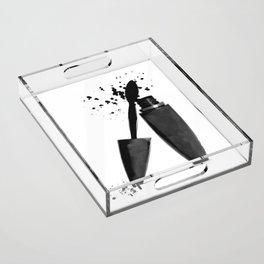 Black mascara fashion illustration Acrylic Tray