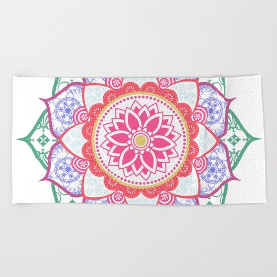 Decorative Coloured Flower Mandala Green Purple Blue Pink Beach Towel