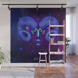 Zodiac neon signs — Aries Wall Mural