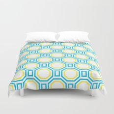 Polygonal pattern - Turquoise blue and Lemon Yellow Duvet Cover