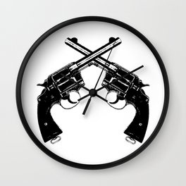 Crossed Revolvers Wall Clock