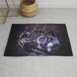 Raven and Wolf - Vegvisir and Tree of life Rug