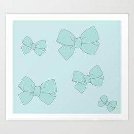 blue bow Art Print