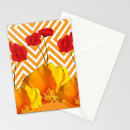 YELLOW & RED  POPPIES MODERN GOLDEN PATTERNS Stationery Cards