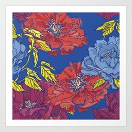 Peonies on Blue Art Print