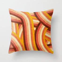 Vintage Orange 70's Style Rainbow Stripes Throw Pillow