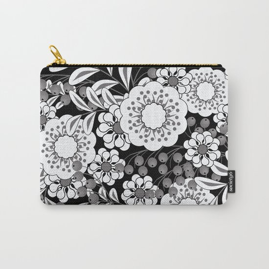 White flowers on a black background. Carry-All Pouch