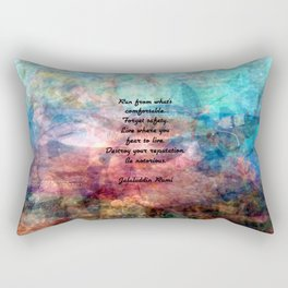 Challenging Fear Rumi Uplifting Quote With Beautiful Underwater Painting Rectangular Pillow