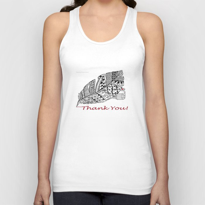 Zentangle Thank You - Black and White Illustration Unisex Tank Top