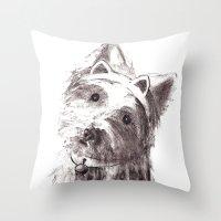 bon iver Throw Pillows featuring Bon Bon by Solidgaunt