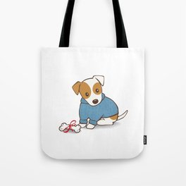 Jack Russell Terrier in a Blue Jumper Illustration Tote Bag