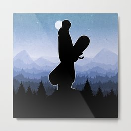 Snowboard Skyline Stand Metal Print