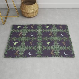 Night Flying - Night Themed Pattern with Bats and Moth Rug