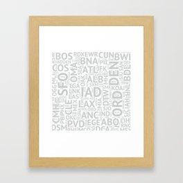 Grey Airport Codes Framed Art Print