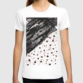 Pink, Black, & Faux Gold Paint Dots & Brushstrokes T-shirt