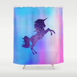 Purple Sparkly Unicorn Shower Curtain