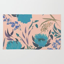 hand draw watercolor floral pattern design Rug