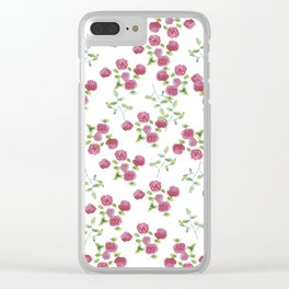 Watercolor roses on white backgroung Clear iPhone Case