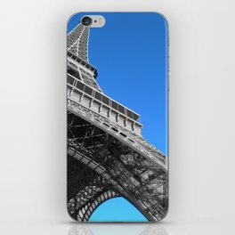 Eiffel tower Paris black and white with color iPhone Skin