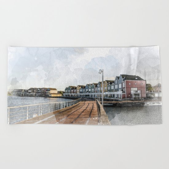 Rainbow Houses. Architectural watercolor and ink drawing Beach Towel