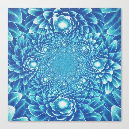 Fresh Modern Green Warp Cactus Pattern Fractal Art! Canvas Print