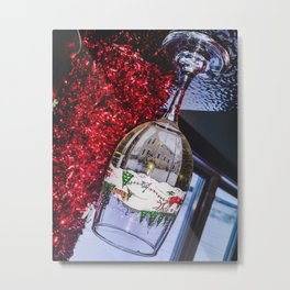 House Reflection in Holiday Wine Glass Metal Print