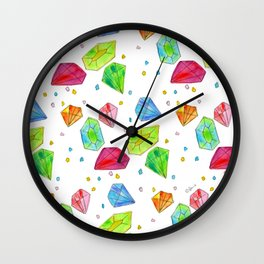 Let Us Shine Like Diamonds fashion, illustration, jewelry, gems, colorful, watercolor, painting Wall Clock