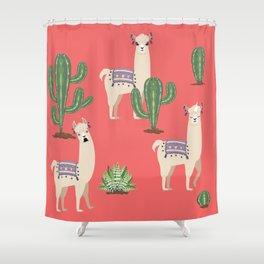 Llama with Cacti Shower Curtain