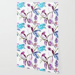 bird tropics floral Wallpaper