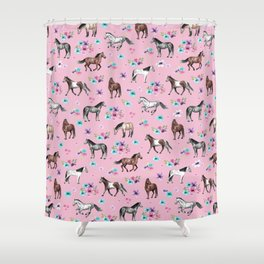 Horses & Flowers, Pink Pattern, Horse Illustration, Little Girls Room, Watercolor Shower Curtain