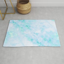 Blue Marble - Shimmery Turquoise Blue Sea Green Marble Metallic Rug