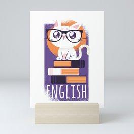 Smart Nerdy English Cat Mini Art Print