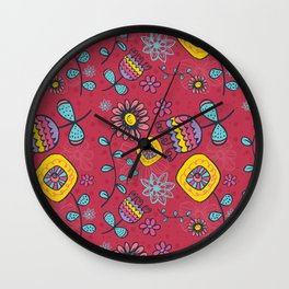 Happy Little Flowers Wall Clock