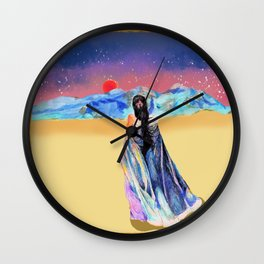 Girl in the Snowy Mountains Yellow Wall Clock