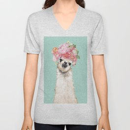 Llama with Flowers Crown #3 Unisex V-Neck