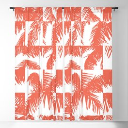 Palm Leaf Pattern Orange Blackout Curtain