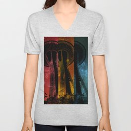 Colorful striped Space Tower Unisex V-Neck
