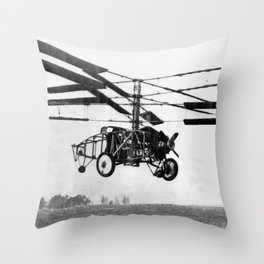 Helicopter Invention Throw Pillow