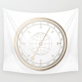 Gold Compass on White Wall Tapestry