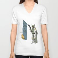 boba V-neck T-shirts featuring Boba by Lewis Farrow